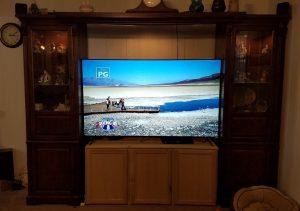 TV inside entertainment center