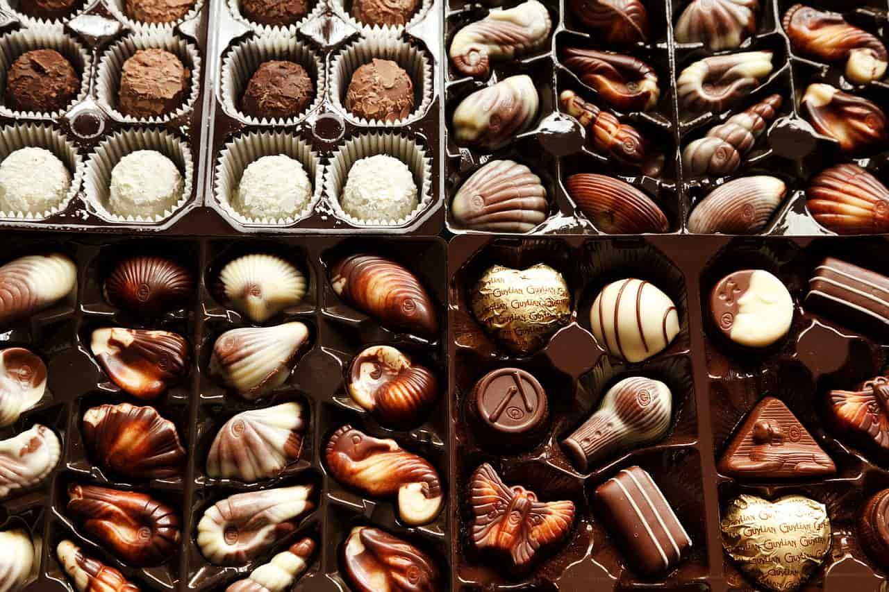An assortment of gourmet chocolates..