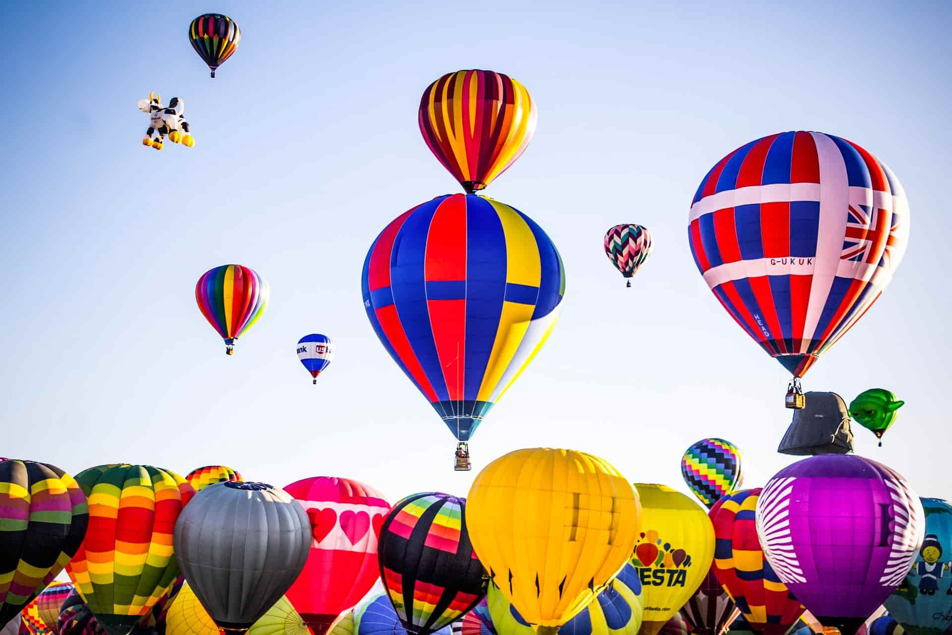 Hot air balloons taking off in the early morning