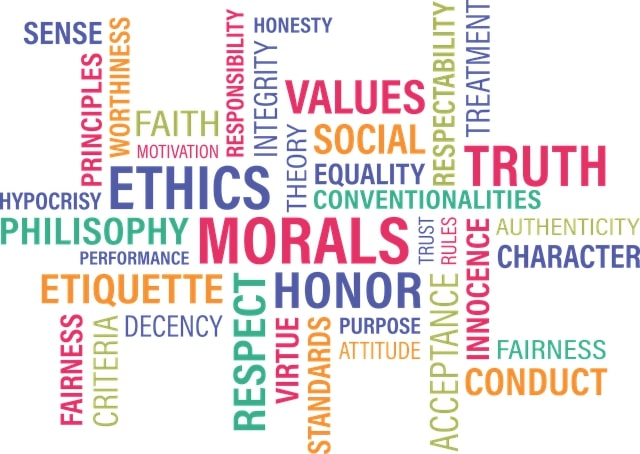 graphic of values words