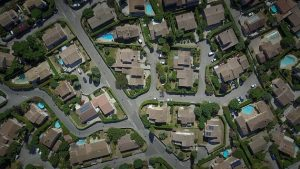 Housing development from above and paved roads