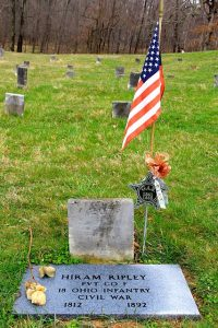 Civil War Grave with US flag