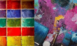 A paint box on the left and blended paints on canvas on the right.