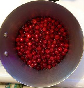 cranberries in a saucepan