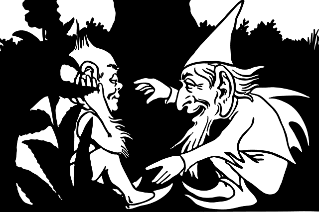 black and white graphic of two gnomes telling stories