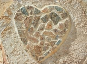 stone mosaic in the shape of a heart