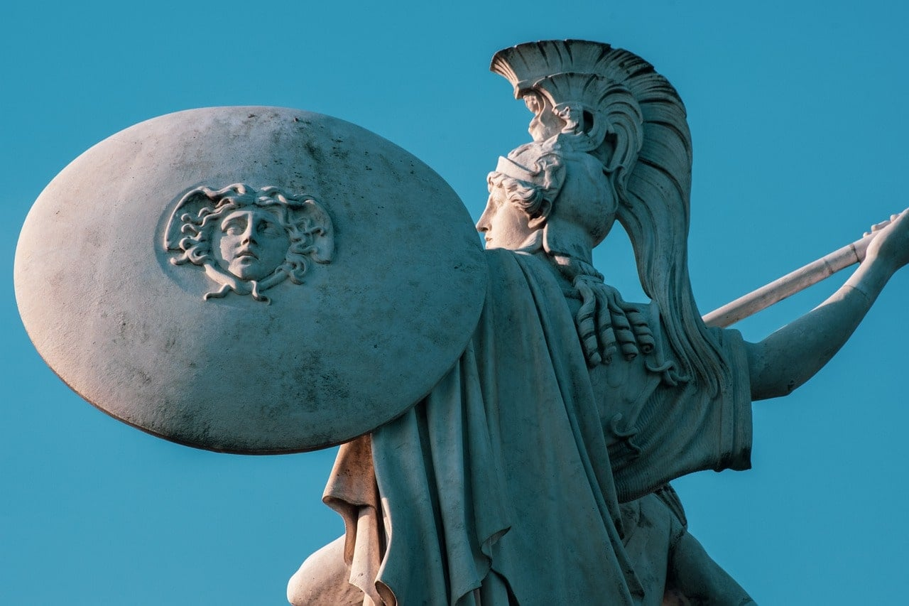 Photo of Greek hero statue with shield and spear