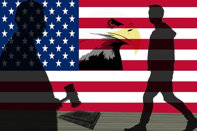 US flag with judge on left, man walking on right and eagle in the middle