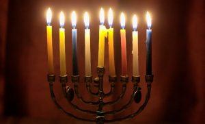 A lit menorah at Hanukkah