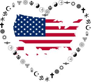 US flag inside heart of religious symbols