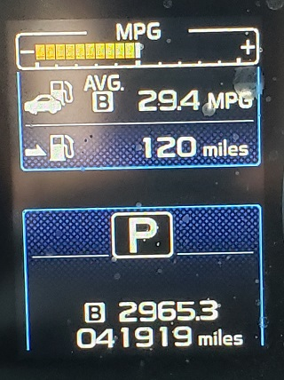Photo of my odometer reading 2965.3 miles and 29.4 mpg for the trip.