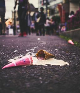 ice cream cone spilled in street