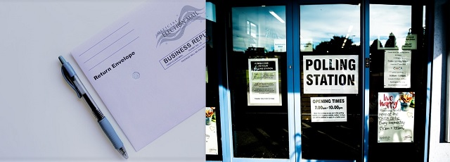 photo of a mail-in ballot next to photo of a polling place