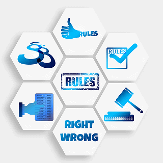 graphic of rules and symbols of rules and laws