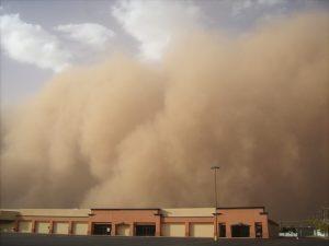 sandstorm over building