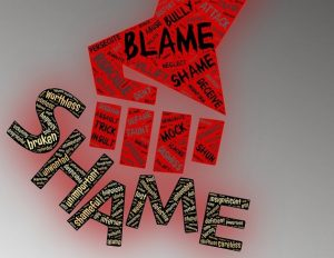 Graphic of a hand with with word like shame and blame on it, smashing into the word Shame
